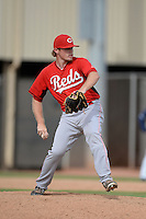 Cincinnati Reds pitcher Jeremy Kivel (77) during an Instructional League game against the Milwaukee Brewers on October 6, 2014 at Maryvale Baseball Park Training Complex in Phoenix, Arizona.  (Mike Janes/Four Seam Images)