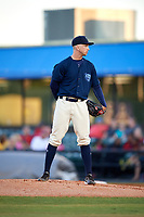 Mobile BayBears starting pitcher Jordan Kipper (27) looks in for the sign during a game against the Pensacola Blue Wahoos on April 25, 2017 at Hank Aaron Stadium in Mobile, Alabama.  Mobile defeated Pensacola 3-0.  (Mike Janes/Four Seam Images)