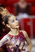 September 25, 2003; Budapest, Hungary; ANAHI SOSA of Argentina looks for her scores at 2003 World Championships.