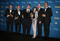 BEVERLY HILLS, CA - FEBRUARY 3: J. Miles Dale, Guillermo del Toro, Sally Hawkins, Richard Jenkins and Alexandre Desplat in the press room at the 70th Annual DGA Awards at The Beverly Hilton Hotel in Beverly Hills, California on February 3, 2018. <br /> CAP/MPI/FS<br /> &copy;FS/MPI/Capital Pictures