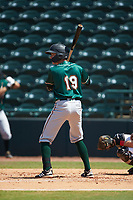 Michael Gretler (19) of the Greensboro Grasshoppers at bat against the Hickory Crawdads at L.P. Frans Stadium on May 26, 2019 in Hickory, North Carolina. The Crawdads defeated the Grasshoppers 10-8. (Brian Westerholt/Four Seam Images)