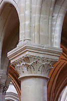 OISE, FRANCE - OCTOBER 26: Detail of capital of the Cathedral Notre-Dame de Senlis on October 26, 2008 in Oise, France. The cathedral was built between 1153 and 1191. (Photo by Manuel Cohen)