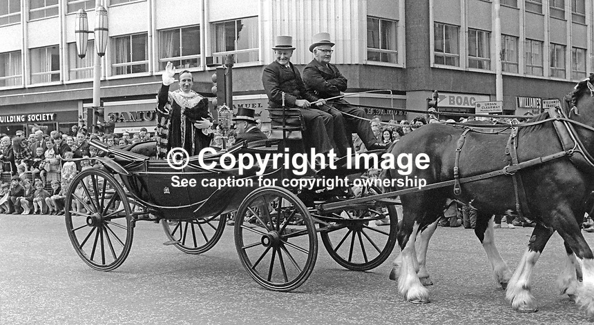 Lord Mayor, Alderman Joseph Cairns, in an open horse-drawn carriage, heads the annual Lord Mayor's Show in Belfast, N Ireland, 23rd May 1970. 197005230196<br />