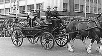 Lord Mayor, Alderman Joseph Cairns, in an open horse-drawn carriage, heads the annual Lord Mayor's Show in Belfast, N Ireland, 23rd May 1970. 197005230196<br /> <br /> Copyright Image from Victor Patterson, 54 Dorchester Park, Belfast, UK, BT9 6RJ<br /> <br /> t1: +44 28 9066 1296<br /> t2: +44 28 9002 2446<br /> m: +44 7802 353836<br /> <br /> e1: victorpatterson@me.com<br /> e2: victorpatterson@gmail.com<br /> <br /> IMPORTANT: My Terms and Conditions of Business are at www.victorpatterson.com