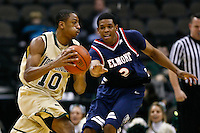 February 03, 2011:   Jacksonville Dolphins forward Ayron Hardy (10) drives around Belmont Bruins forward Blake Jenkins (2) during  Atlantic Sun Conference action between the Jacksonville Dolphins and the Belmont Bruins at Veterans Memorial Arena in Jacksonville, Florida.  Belmont defeated Jacksonville 76-70.