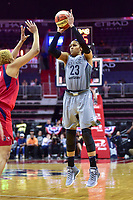 Washington, DC - May 27, 2018: Minnesota Lynx forward Maya Moore (23) hits a jump shot over Washington Mystics forward Tianna Hawkins (21) during game between the Mystics and Lynx at the Capital One Arena in Washington, DC. (Photo by Phil Peters/Media Images International)
