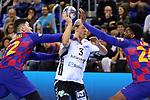 VELUX EHF 2019/20 EHF Men's Champions League Group Phase - Round 8.<br /> FC Barcelona vs Aalborg Handbold: 44-35.<br /> Ludovic Fabregas, Janus Dadi Smarason & Dika Mem.