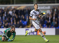 Erik Lamela of Tottenham Hotspur celebrates scoring his goal and making it 3-1 during the UEFA Europa League match between Tottenham Hotspur and Qarabag FK at White Hart Lane, London, England on 17 September 2015. Photo by Andy Rowland.