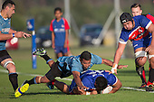 Matuu Neueli lands on top of Feta Luamanu after hitting him hard in the tackle. Counties Manukau Premier Club Rugby game between Ardmore Marist and Weymouth, played at Bruce Pulman Park on May 14th 2016. Ardmore Marist won the game 43 - 7 after leading 17 - 0 at halftime. Photo by Richard Spranger.