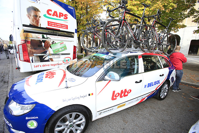 Lotto-Belisol team car before the start of the 107th edition 2013 Tour of Lombardy 242 Km starting in Bergamo and finishing in Lecco. 6th October 2013.<br /> (Photo: Eoin Clarke/www.newsfile.ie)