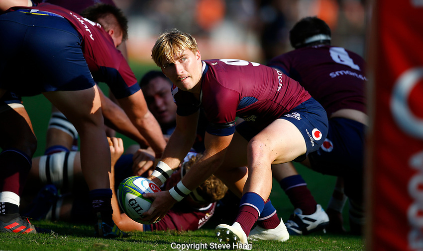 DURBAN, SOUTH AFRICA - APRIL 19: Tate McDermott of The St.George Queensland Reds during the Super Rugby match between Cell C Sharks and Reds at Jonsson Kings Park Stadium on April 19, 2019 in Durban, South Africa.  Photo: Steve Haag / stevehaagsports.com