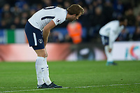 a disappointed Harry Kane of Tottenham during the Premier League match between Leicester City and Tottenham Hotspur at the King Power Stadium, Leicester, England on 28 November 2017. Photo by James Williamson / PRiME Media Images.