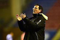 Blackpool manager Gary Bowyer applauds the fans at the end of the match<br /> <br /> Photographer Richard Martin-Roberts/CameraSport<br /> <br /> The EFL Sky Bet League One - Wigan Athletic v Blackpool - Tuesday 13th February 2018 - DW Stadium - Wigan<br /> <br /> World Copyright &copy; 2018 CameraSport. All rights reserved. 43 Linden Ave. Countesthorpe. Leicester. England. LE8 5PG - Tel: +44 (0) 116 277 4147 - admin@camerasport.com - www.camerasport.com