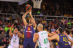 Turkish Airlines Euroleague 2017/2018.<br /> Regular Season - Round 13.<br /> FC Barcelona Lassa vs Unicaja Malaga: 83-90.<br /> Pierre Oriola vs James Augustine.