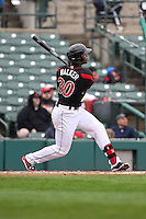Left fielder Adam Walker (30) of the Rochester Red Wings hits a solo homerun in the bottom of the 5th inning against the Scranton Wilkes-Barre Railriders on May 1, 2016 at Frontier Field in Rochester, New York. Red Wings won 1-0.  (Christopher Cecere/Four Seam Images)