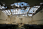 A gapping hole where there was once a roof in the sanctuary of the Union Grove Freewill Baptist Church in Atkins, Ark. on Wednesday, Feb 06, 2008 after being hit by a tornado Tuesday night.