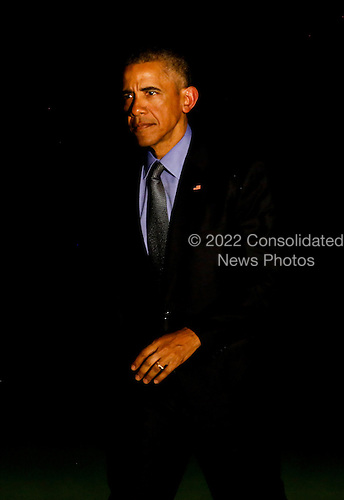 United States President Barack Obama returns to the White House after a trip to New York, New York where he made an appearance on the Tonight Show with Jimmy Fallon and and participated at a DNC event, June 08, 2016, Washington, DC. <br /> Credit: Aude Guerrucci / Pool via CNP