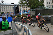 June 11th 2017, Leeds, Yorkshire, England; ITU World Triathlon Leeds 2017; Flora Duffy gets close the barriers as she competes in the cycling phase around Leeds city centre
