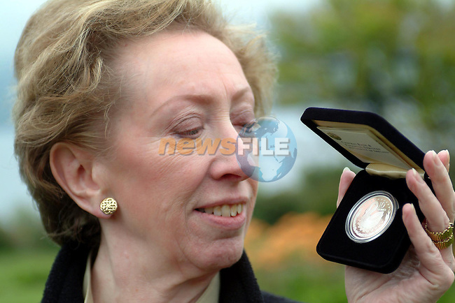 Killarney Ireland, EU AGRICULTURE MINISTERS MEETING.UK Minister for Agriculture Margaret Beckett proudly holds her speically minted 10 euro coin  which she received to mark the occassion of the conference at the Hotel Europe, Killarney . 11th May 2004..Photo AFP/NEWSFILE/Don MacMonagle.(Photo credit should read Don MacMonagle/NEWSFILE/AFP)...This Picture has been sent you under the condtions enclosed by:.Newsfile Ltd..the Studio,.Millmount Abbey,.Drogheda,.Co Meath..Ireland..Tel: +353(0)41-9871240.Fax: +353(0)41-9871260.GSM: +353(0)86-2500958.email: pictures@newsfile.ie.www.newsfile.ie.FTP: 193.120.102.198..This picture is from Fran Caffrey@newsfile.ie