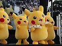 """August 12, 2016, Yokohama, Japan - Pikachu characters, Nintendo's videogame software Pokemon's wellknown character perform dancing at a show """"Super Soaking Splash Show"""" in Yokohama, suburban Tokyo on Friday, August 12, 2016. The Pikachu mascots perfom the several shows daily to attract summer vacationers as a part of the """"Great Pikachu Outbreak"""" event through August 14.    (Photo by Yoshio Tsunoda/AFLO) LWX -ytd-"""