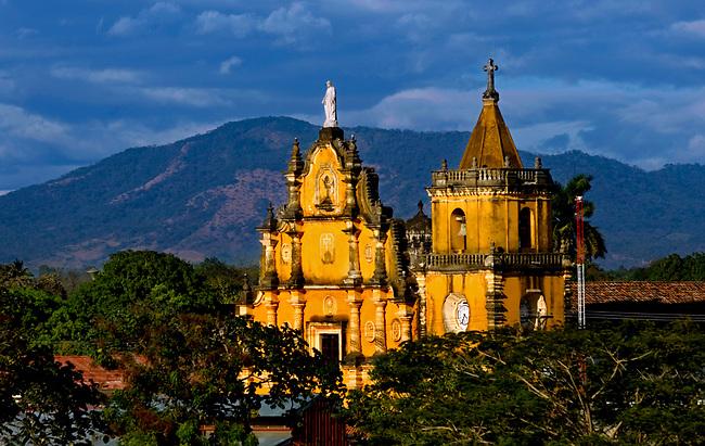 The twin spires of the Baroque Iglesia de la Recoleccion rise above the city of Leon, Nicaragua.