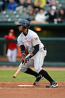 Wisconsin Timber Rattlers outfielder Victor Roache #28 during a game against the Peoria Chiefs on May 25, 2013 at Dozer Park in Peoria, Illinois.  Peoria defeated Wisconsin 6-0.  (Mike Janes/Four Seam Images)