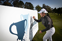Doey Choi signs the New Zealand Amateur Golf Championship banner after winning today at the Remuera Gold Club, Auckland, New Zealand. Sunday 3rd st November 2019. Photo: Greg Bowker/www.bwmedia.co.nz/NZGolf<br /> COPYRIGHT:© www.bwmedia.co.nz