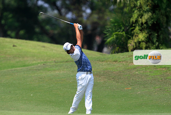 Poom Saksansin (THA) in action on the 2nd during Round 1 of the Maybank Championship at the Saujana Golf and Country Club in Kuala Lumpur on Thursday 1st February 2018.<br /> Picture:  Thos Caffrey / www.golffile.ie<br /> <br /> All photo usage must carry mandatory copyright credit (© Golffile | Thos Caffrey)