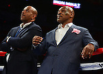 MIAMI, FL - JULY 10: Promoter and former boxer Mike Tyson( R) during Iron Mike Judgement Day boxing match at AmericanAirlines Arena on July 10, 2014 in Miami, Florida.  (Photo by Johnny Louis/jlnphotography.com)