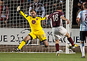 Hearts' Lee Hollis saves at close range from Colin McMenamin.
