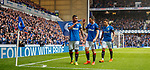 07.04.2018 Rangers v Dundee:<br /> Alfredo Morelos celebrates his goal by shooshing the Rangers fans