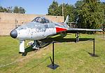 Royal Navy Hawker Hunter GA11 fighter plane, Bentwaters Cold War museum, Suffolk, England, UK
