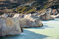 St. Bathans lake with clay cliffs near Ranfurly, Central Otago, New Zealand