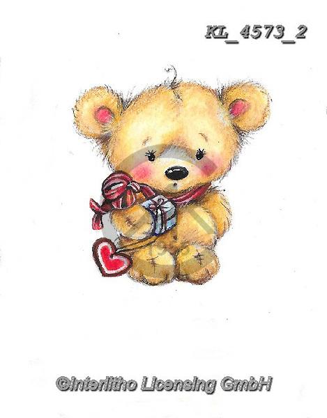 VALENTINE, VALENTIN, paintings+++++,KL4573/2,#v#, EVERYDAY ,sticker,stickers ,bear,bears