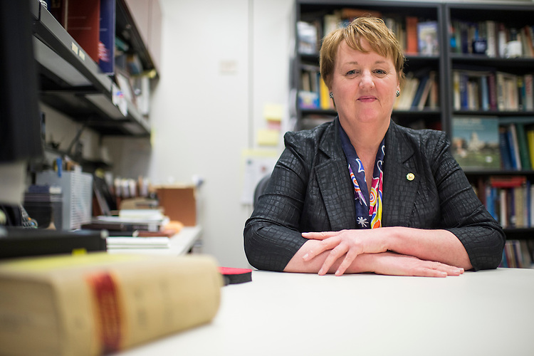 WASHINGTON, DC - MAY 14: New Senate Historian Betty Koed poses in her office in the Hart Senate Office Building on Thursday, May 14, 2015. (Photo By Bill Clark/CQ Roll Call)