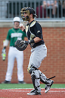Wake Forest Demon Deacons catcher Logan Harvey (15) on defense against the Charlotte 49ers at Hayes Stadium on March 16, 2016 in Charlotte, North Carolina.  The 49ers defeated the Demon Deacons 7-6.  (Brian Westerholt/Four Seam Images)