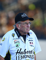 Jul 8, 2016; Joliet, IL, USA; NHRA funny car team owner Jim Dunn during qualifying for the Route 66 Nationals at Route 66 Raceway. Mandatory Credit: Mark J. Rebilas-USA TODAY Sports