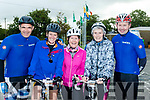 Saddle Up<br /> --------------<br /> L-R Johnny O'Sullivan, Fenit, Bridget Moorer, Abbeydorney, Mags O'Connor, Ardfert, Margaret Gilbert, Causeway and Mark Ryall, Lixnaw all ready for the Harvest cycle in aid of Ardfert National school last Saturday morning.