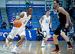 January 24, 2017:  Air Force guard, CJ Siples #2, drives past Aztec, Matt Shrigley #20, during the NCAA basketball game between the San Diego State Aztecs and the Air Force Academy Falcons, Clune Arena, U.S. Air Force Academy, Colorado Springs, Colorado.  Air Force defeats San Diego State 60-57.