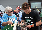 New York Jets quarterback Sam Darnold (14), right, signs an autograph for an unidentified fan after participating in a joint training camp practice with the Washington Redskins at the Washington Redskins Bon Secours Training Facility in Richmond, Virginia on Monday, August 13, 2018.<br /> Credit: Ron Sachs / CNP<br /> (RESTRICTION: NO New York or New Jersey Newspapers or newspapers within a 75 mile radius of New York City)