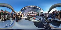 Denny Hamlin, Victory Lane, 360 degree panorama, Daytona 500, Daytona International Speedway, February 21, 2016.  (Photo by Brian Cleary/ www.bcpix.com )