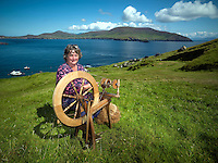 25-8-2014: Weavr Sue Redican at workd on the Great Blasket Island off West Kerry.<br /> Picture by Don MacMonagle