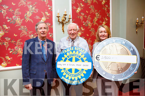 Kerry Rape and Sexual Abuse Centre receiving a cheque from the Tralee Rotary Club in the Imperial Hotel, Tralee on Tuesday last.<br /> L-r, Pierce Wall (Vice Pres of the Tralee Rotary Club), Graham Borley (President of the Tralee Rotary Club) and Vera O&rsquo;Leary (Manager of the Kerry Rape and Sexual Abuse Centre)