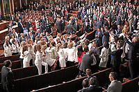 Democratic women wearing white in response to Representative Lois Frankel's call to acknowledge the voters who handed Democrats a majority in the House in the midterm elections and a reminder that they plan to make women's economic security a priority prior to US President Donald J. Trump delivers his second annual State of the Union Address to a joint session of the US Congress in the US Capitol in Washington, DC on Tuesday, February 5, 2019. Photo Credit: Alex Edelman/CNP/AdMedia