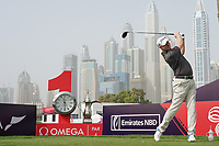 Richard McEvoy (ENG) in action on the 1st tee during the first round of the Omega Dubai Desert Classic, Emirates Golf Club, Dubai, UAE. 24/01/2019<br /> Picture: Golffile | Phil Inglis<br /> <br /> <br /> All photo usage must carry mandatory copyright credit (&copy; Golffile | Phil Inglis)