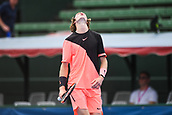 11th January 2018,  Kooyong Lawn Tennis Club, Kooyong, Melbourne, Australia; Priceline Pharmacy Kooyong Classic tennis tournament; Andrey Rublev of Russia looks to the sky in anger after narrowly missing a point against Lucas Pouille of France