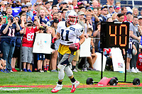 July 27, 2017: Fans cheer behind New England Patriots wide receiver Julian Edelman (11) after he makes a catch at the New England Patriots training camp held on the practice field at Gillette Stadium, in Foxborough, Massachusetts. Eric Canha/CSM