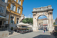 The Arch of the Sergians in the city of Pula, Istria County, Croatia