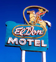 El Don Motel sign on old Route 66 in Albuquerque, New Mexico.
