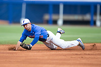 Florida Gators shortstop Dalton Guthrie (5) makes a diving stop during the game against the Wake Forest Demon Deacons in Game Three of the Gainesville Super Regional of the 2017 College World Series at Alfred McKethan Stadium at Perry Field on June 12, 2017 in Gainesville, Florida. The Gators defeated the Demon Deacons 3-0 to advance to the College World Series in Omaha, Nebraska. (Brian Westerholt/Four Seam Images)
